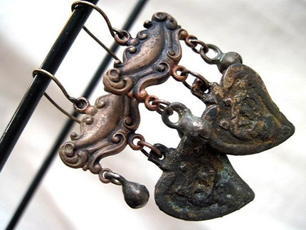 Rongorongo. Victorian Tribal Dangles with Heart Milagros.