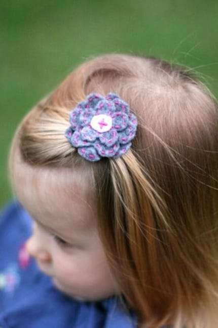 Girls' Felt  Flower Hair Clip- Gray and Pink