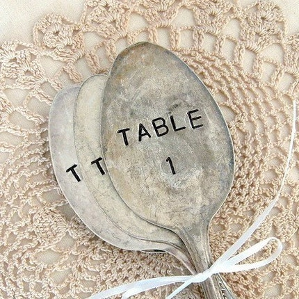 table numbers - antique spoons markers