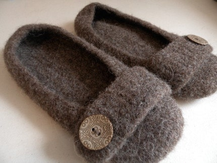 Crocheted Felted Slippers - Adult - Brown