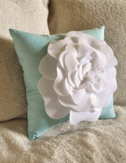 White Rose on Robins Egg Blue Pillow