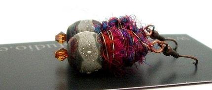 Mixed Media Raku and Fiber Earrings Jewelry Handmade     by MAKUstudio