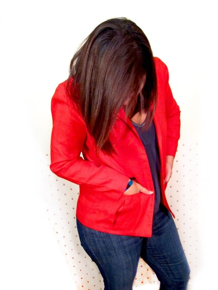 Vintage 80s ROLLING STONE Red Boyfriend Preppy Blazer Small Medium