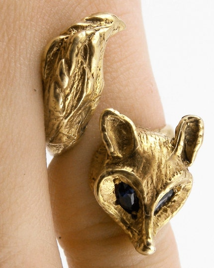 Gold Fox Ring with Enchanting Sapphire Eyes by AngelaMonaco from etsy.com