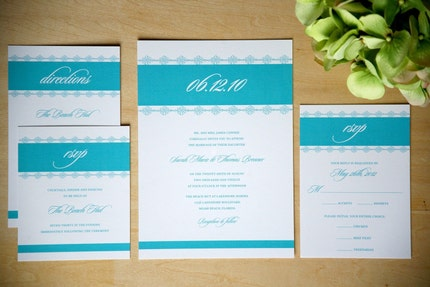 Lacy Vintage Wedding Invitations Pool Blue Sample