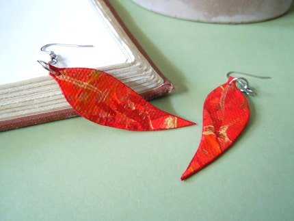 Painted Canvas Mini Leaf Earrings- Photosynthesis SMALL