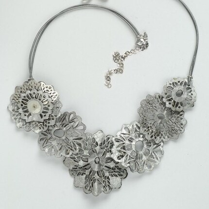 STUNNING GRAY LACE Necklace, Laser Cut Leather