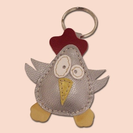 Disco Chick Leather Keychain