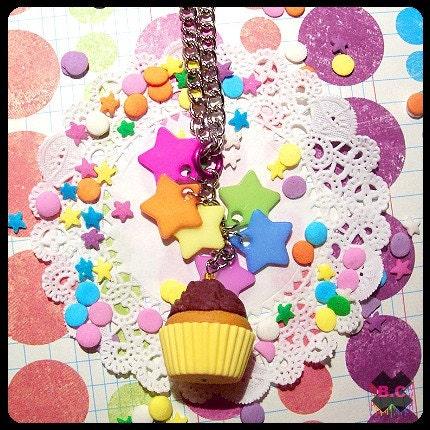 Rainbow Stars Chocolate Cupcake Necklace