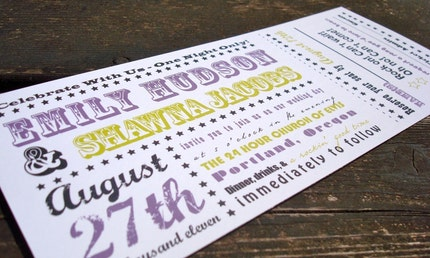 Concert Ticket Wedding Invitation (Sample)