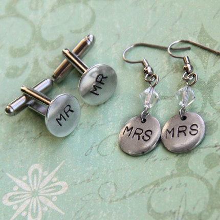MR and MRS Gift Set .. silver cuff links and crystal dangle earrings