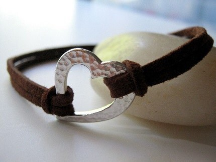 Karmic Heart Bracelet - Chocolate Brown Leather and Silver Hammered Heart
