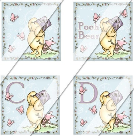 NEW - CLASSIC WINNIE THE POOH LETTERS AND MORE - One Inch Squares Inchie Digital Collage Sheet FOR MAGNETS BUTTONS GLASS AND WOOD PENDANT TILES 1 Inch