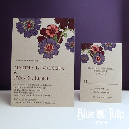 Recycled Wildflower Wedding Invitation