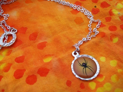 Orange Black Widow Halloween Necklace