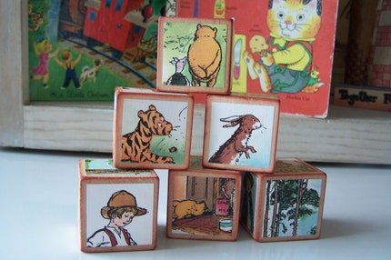 Set of 6 Classic Storybook Blocks Winnie the Pooh and Friends Classic Pooh Vintage Style (NEW Larger Size)