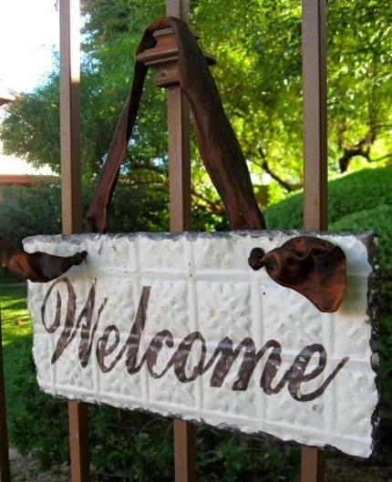 WELCOME Sign made with Antique Ceiling Tin Tile / Architectural Salvage Home Decor // READY TO SHIP //