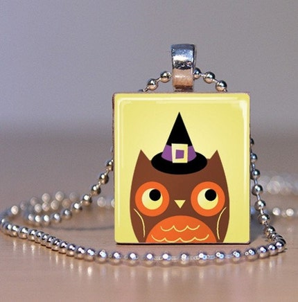 ONE DAY ONLY SALE! Witch Owl Halloween Scrabble Tile Pendant