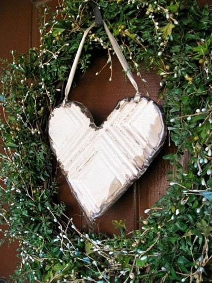 LOVE THIS Cream Heart made with Antique Ceiling Tin Tile  // READY TO SHIP //