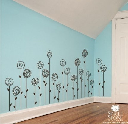 Doodle Flower Garden (Set of 10) - Vinyl Wall Decals Stickers Art Graphics Words Lettering