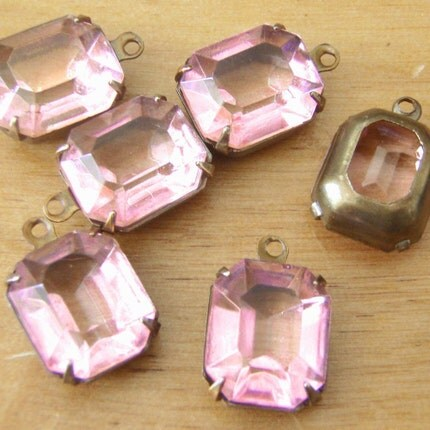 Pink Octagon Vintage Glass Jewels