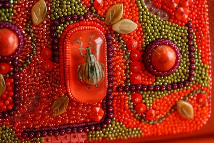 Mostly Orange Bead Embroidered Clutch