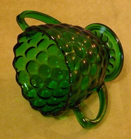 Forest Green Bubble Sugar Bowl by Anchor Hocking Glass Company