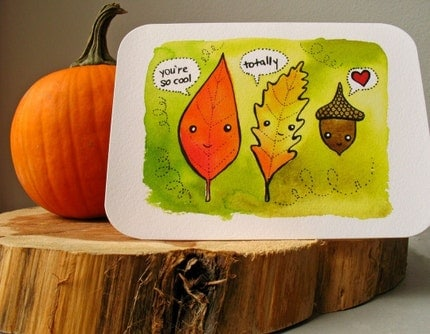 Fall Foliage Cuties-Notecard
