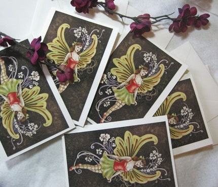 Diana Levin Holiday Fairy Mini 5 Card Set