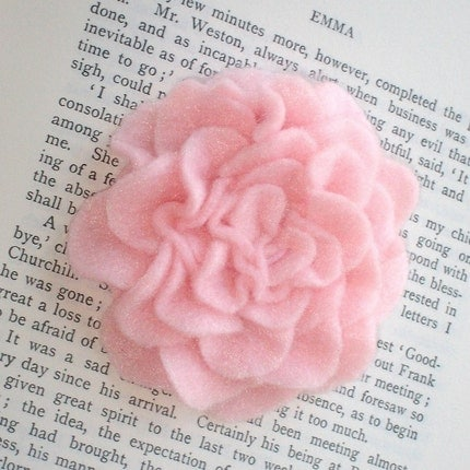 Emma- Light pink felt rose, headband or clip
