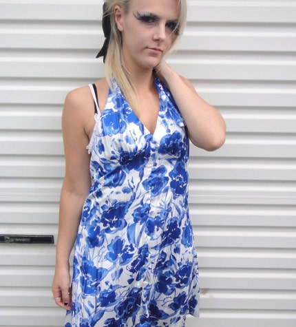 Blue and White Ribbon Tie Up Dress