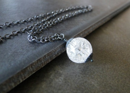 Quartz Crystal On An Oxidized Sterling Silver Chain by beadsme from etsy.com