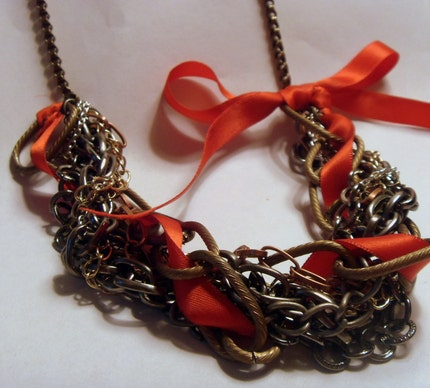 Chain Ribbon  Necklace