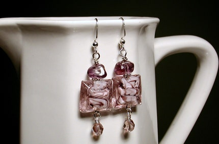 PIXIE DUST  Murano Glass and Amethyst Earrings by endlessbounty