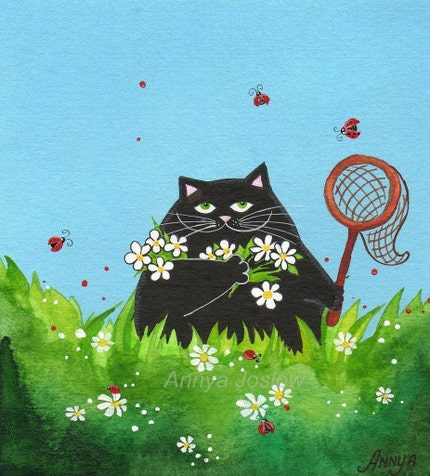 Hunting Ladybugs while Completely Invisible - MATTED art print