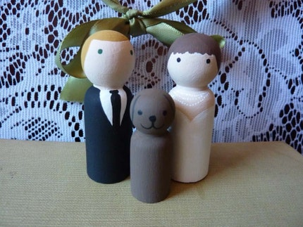 Custom Handpainted Cake Topper - Couple with Pet