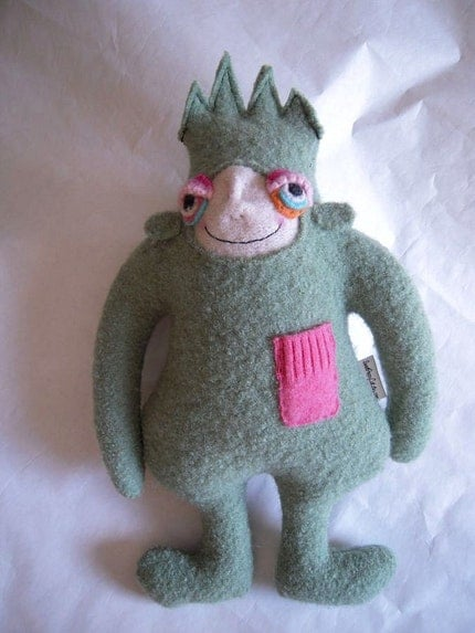 Small Green Spikey Headed Wool Upcycled Sweater Monster