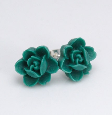 Free Shipping - Miniature Emerald Lotus Post Stud Earrings