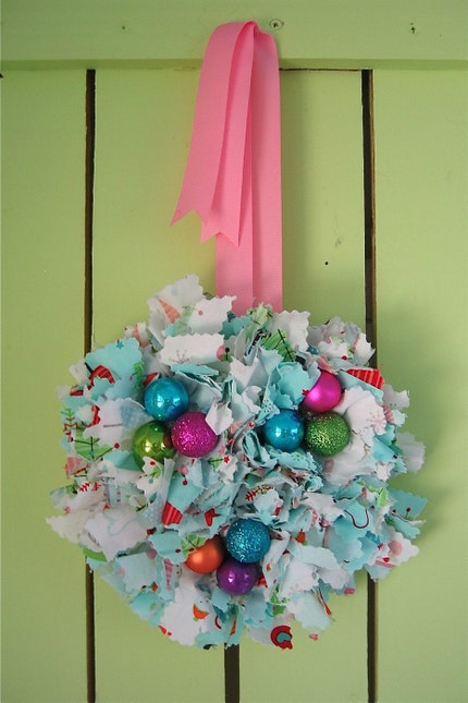 Colorful Christmas Small Sized Rag Wreath with Riley Blake Fabric and Small Bright Ornaments