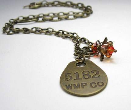 5182 WMP Co Antiqued Brass Pendant Necklace