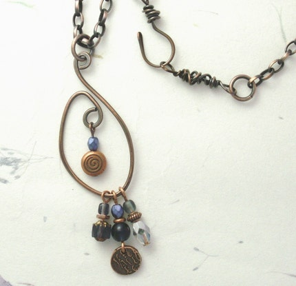 necklace copper wire oxidized beads swirly