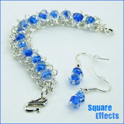 EBTW-on SALE-Blue lined glass triangle beaded chainmaille bracelet and earrings