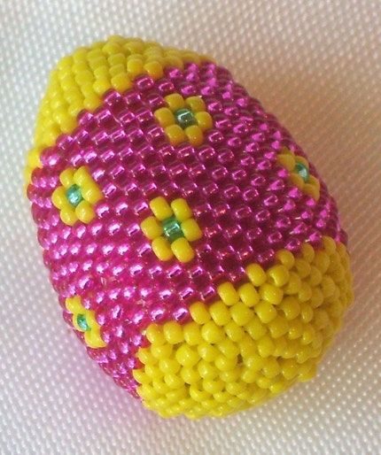 Beaded Spring Easter Egg Bright Pink Yellow Flowers Peyote Stitch