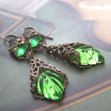 Etsy :: 1ofmykind :: Spring Green Art Nouveau Earrings from etsy.com