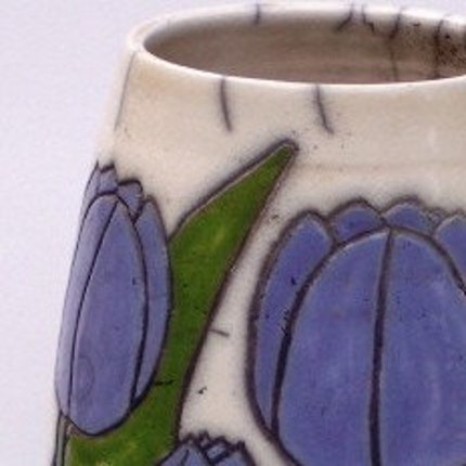 Purple Tulips Webb Raku Pottery Vase 11 3/4  H