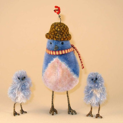 Mohair momma bird Beratrice and her two mohair and silk babies, Lloyd and Flit