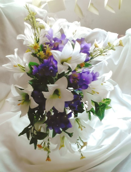 Lily and Hydrangea Cascade Silk Bridal Bouquet Free Shipping