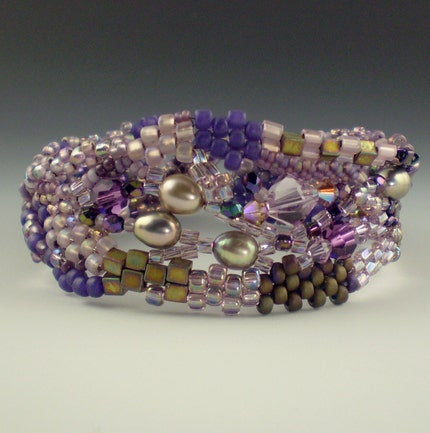 Purple Freeform Peyote Bracelet