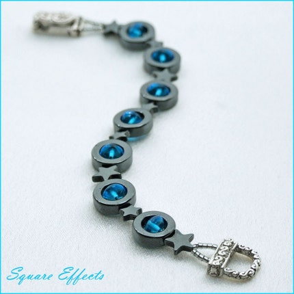 EBTW-on SALE-Turquoise and hematite circles and stars bracelet