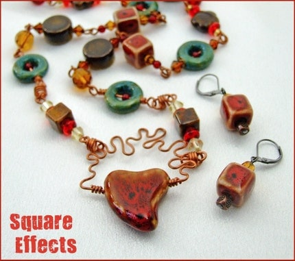 SALE - EBTW - Mad About Metals - Ceramic and copper 26 inch necklace and earrings